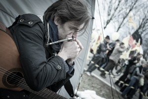 David Stützel in neckarwestheim, am akw zum fukushima jahrestag...